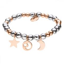 Amulet gwiazdka księżyc bransoleta hematyt i różowe złoto