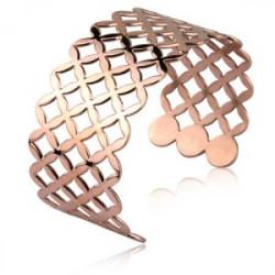 Ażurowa bransoletka damska bangle, różowe złoto