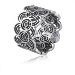 Ażurowa obrączka damska w stalowym kolorze