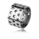 Ażurowa obrączka w gwiazdki, kolor srebrny