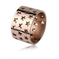 Ażurowa obrączka w gwiazdki, różowe złoto