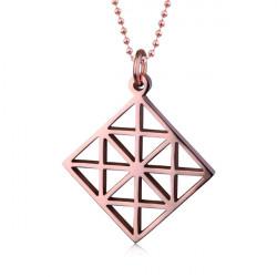 Ażurowy naszyjnik damski, romb w kolorze różowego złota