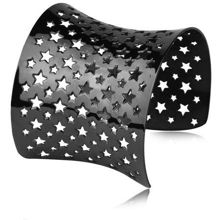 BA078B czarna bransoletka bangle, ażurowa w gwiazdki