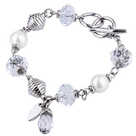 BA083 bransoletka damska ze szklanymi kamieniami i perłami Swarovski