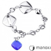 BA109 bransoletka damska z niebieskim kamieniem szklanym