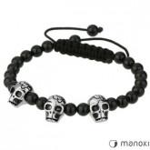 BA148 uniwersalna bransoletka z czaszkami, czarny agat