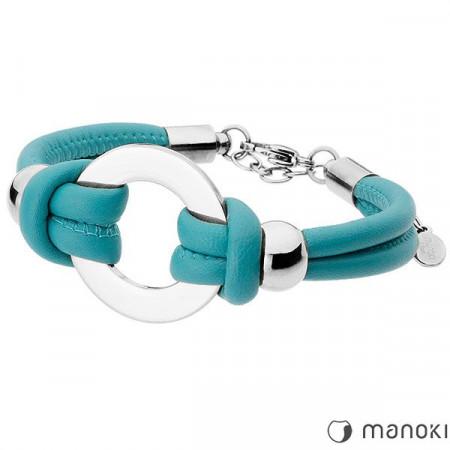 BA159ST bransoletka damska z niebieskiej skóry, symbol karmy
