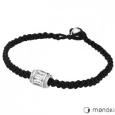 BA215 minimalistyczna bransoletka damska z czarnego sznurka, cyrkonia