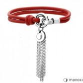 BA226C czerwona bransoletka skórzana z chwostem, symbol karmy