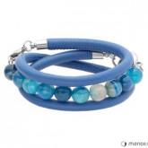 BA228SN bransoletka damska z niebieskiej skóry z agatem