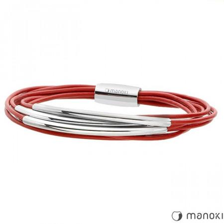 BA233C damska bransoletka z rzemienia i stalowych ozdób, kolor czerwony