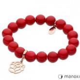BA277RC bransoletka damska z róża, czerwony jadeit