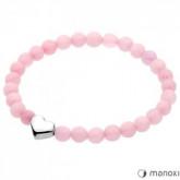BA280SKR bransoletka damska z różowego kwarcu z serduszkiem