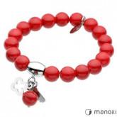 BA282C bransoletka damska z czerwonego jadeitu, koniczyna i kluczyk
