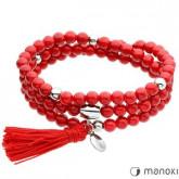 BA285R bransoletka damska z czerwonego jadeitu z chwostem