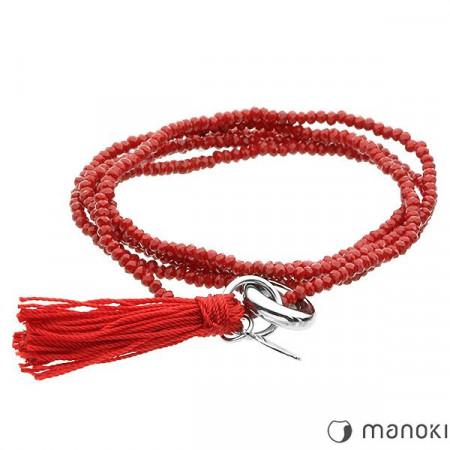 BA287R czerwona bransoletka damska z chwostem, szkło fasetowane