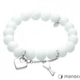 BA289W biała bransoletka damska z marmuru, kluczyk i serduszko