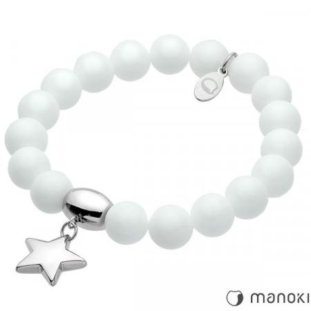 BA291W biała bransoletka damska z marmuru z gwiazdką