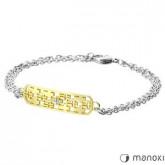 BA305 bransoletka damska z cyrkoniami, srebrny, złoty