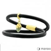 BA310GB bransoletka damska z czarnej skóry z żołędziem z labradorytu