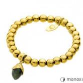 BA311GB bransoletka damska z żołędziem, kamienie naturalne, kolor złoty