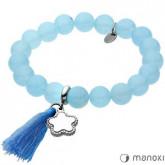 BA317N bransoletka damska z niebieskiego jadeitu z chwostem i kwiatem