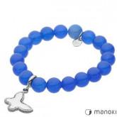 BA318KB niebieska bransoletka damska z jadeitu z motylkiem