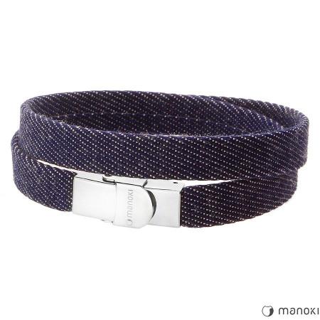 BA324JN męska bransoletka jeansowa, niebieska