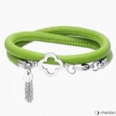 BA326SZ bransoletka damska ze skóry, kolor zielony