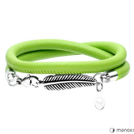 BA329SZ skórzana, zielona bransoletka damska z piórkiem