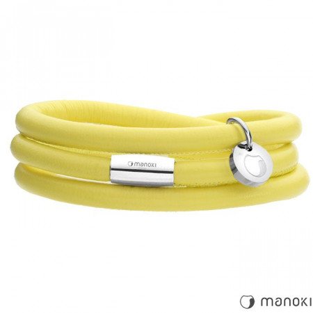 BA334SPY żółta bransoletka damska ze skóry naturalnej