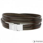 BA337K skórzana bransoletka dla mężczyzn, ciemny brąz
