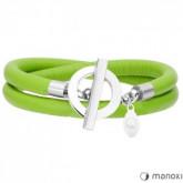 BA352SZ skórzana bransoletka damska w kolorze zielonym