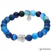 BA354N niebieska bransoletka damska z agaru, Budda