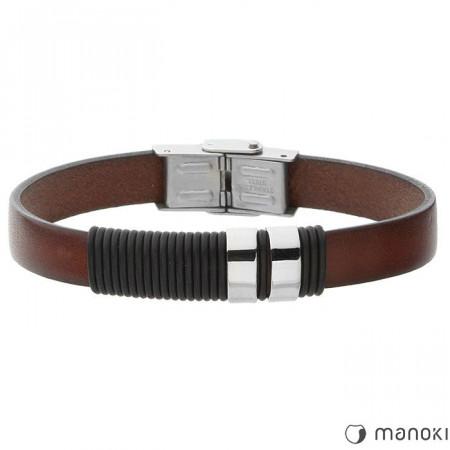 BA378A brązowa bransoletka męska ze skóry, w stylu minimalistycznym