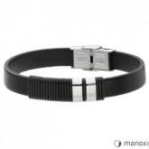 BA378B czarna, minimalistyczna bransoletka męska ze skóry naturalnej