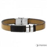 BA378E bransoletka męska skórzana w stylu minimalistycznym, jasny brąz