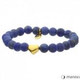 BA385GL niebieska bransoletka damska z kamieni naturalnych, złote serce