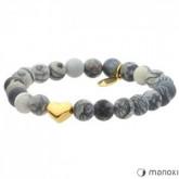 BA385GS szara bransoletka damska z jaspisu, złote serce