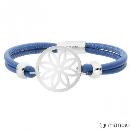 BA387SN niebieska, skórzana bransoletka damska z kwiatem