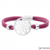 BA387SP różowa bransoletka damska z kwiatem, fuksja