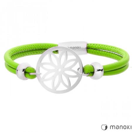 BA387SZ zielona, skórzana bransoletka damska z ażurowym kwiatem