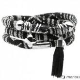 BA388B czarno-biała bransoletka damska ze sznurka z chwostem