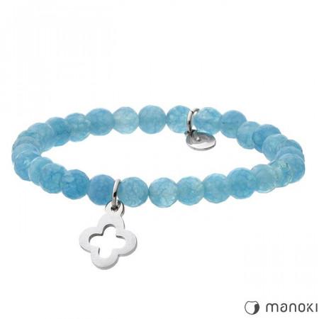 BA389N bransoletka damska z niebieskiego kwarcu, stalowa ozdoba