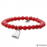 BA390C czerwona bransoletka damska z jadeitu, stalowe serduszko
