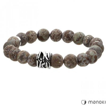 BA414A bransoletka męska z kamienia naturalnego, odcienie brązu
