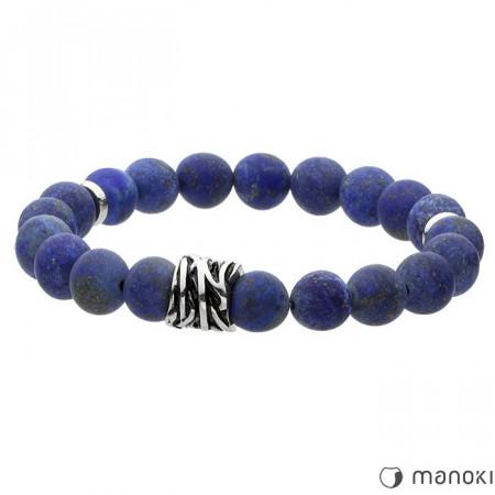 BA414J niebieska bransoletka męska z naturalnych kamieni, lapis lazuli