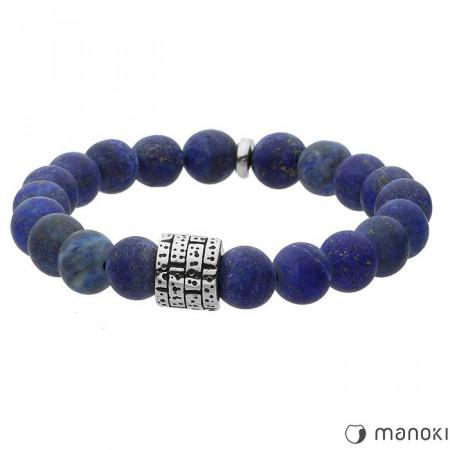 BA415J niebieska bransoletka męska z kamieni naturalnych, lapis