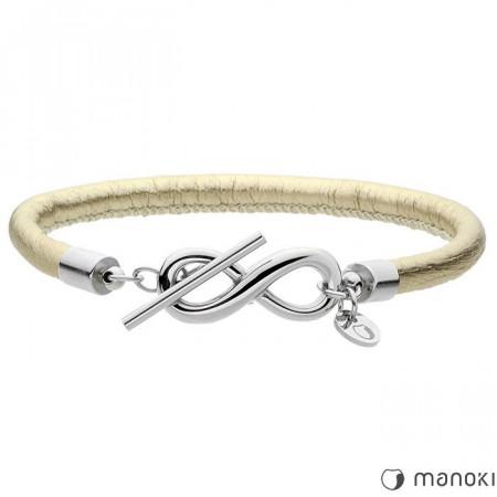 BA428SG skórzana bransoletka damska z symbolem nieskończoności, kolor złoty