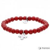 BA431C czerwona bransoletka damska z jadeitu